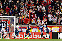 Harrison, NJ - Wednesday Feb. 22, 2017: Kekuta Manneh celebrates scoring during a Scotiabank CONCACAF Champions League quarterfinal match between the New York Red Bulls and the Vancouver Whitecaps FC at Red Bull Arena.