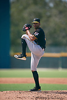 Pittsburgh Pirates starting pitcher Dario Agrazal (39) delivers a pitch during a Florida Instructional League game against the Detroit Tigers on October 2, 2018 at the Pirate City in Bradenton, Florida.  (Mike Janes/Four Seam Images)