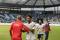KANSAS CITY, KS - JULY 15: United States warming up before a game between Martinique and USMNT at Children's Mercy Park on July 15, 2021 in Kansas City, Kansas.