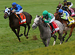 Octover 10, 2020 : #1 Harvey's Lil Goil and jockey Martin Garcia win the 37th running of The Queen Elizabeth II Challenge Cup Grade 1 $500,000 Presented by Dixiana for owner Estate of Harvey A. Clarke and trainer William Mott at Keeneland Racecourse in Lexington, KY on October 10, 2020.  Candice Chavez/ESW/CSM