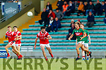 Brendan O'Keeffe, East Kerry in action against Fiachra Clifford, Mid Kerry during the Kerry County Senior Football Championship Final match between East Kerry and Mid Kerry at Austin Stack Park in Tralee on Saturday night.