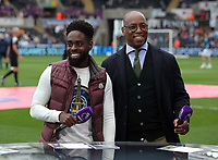 Nathan Dyer of Swansea City is interviewed by Ian Wright for BT Sport during the Premier League match between Swansea City and Everton at The Liberty Stadium, Swansea, Wales, UK. Saturday 06 May 2017