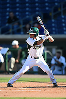 USF Bulls utility player Andres Leal (9) at bat during a game against the Alabama State Hornets on February 15, 2015 at Bright House Field in Clearwater, Florida.  USF defeated Alabama State 12-4.  (Mike Janes/Four Seam Images)