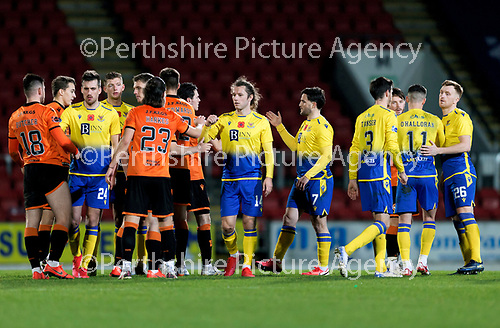 St Johnstone v Dundee United…10.11.20   McDiarmid Park      BetFred Cup<br />Stevie May who saw his penalty saved  leads the handshakes at full time<br />Picture by Graeme Hart.<br />Copyright Perthshire Picture Agency<br />Tel: 01738 623350  Mobile: 07990 594431