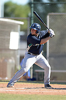 Seattle Mariners catcher Luke Guarnaccia (58) during an instructional league game against the Kansas City Royals on October 2, 2013 at Surprise Stadium Training Complex in Surprise, Arizona.  (Mike Janes/Four Seam Images)