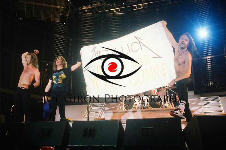 Various live photographs of the rock band, Metallica