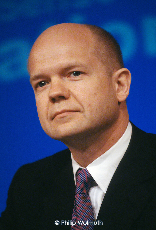 William Hague, Conservative Party leader,  addresses a pre-election press conference at the party HQ in Smith Square, London.