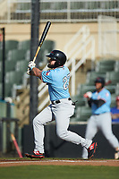 Tanner Gardner (27) of the Hickory Crawdads follows through on his swing against the Kannapolis Intimidators at Kannapolis Intimidators Stadium on May 6, 2019 in Kannapolis, North Carolina. The Crawdads defeated the Intimidators 2-1 in game one of a double-header. (Brian Westerholt/Four Seam Images)