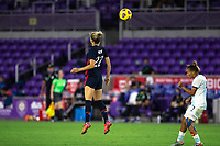 ORLANDO CITY, FL - FEBRUARY 24: Kristie Mewis #22 of the USWNT heads the ball during a game between Argentina and USWNT at Exploria Stadium on February 24, 2021 in Orlando City, Florida.