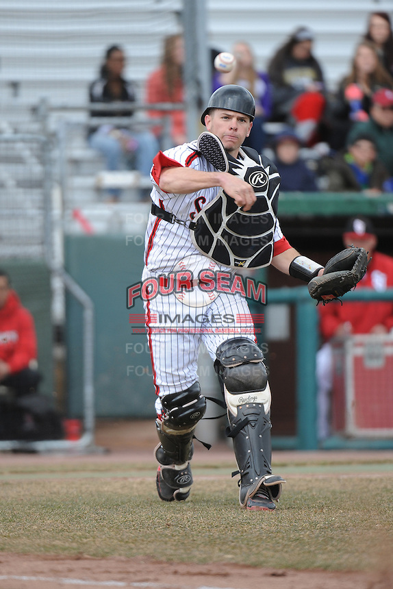 St. John's University Redstorm catcher Danny Bethea (26) during game 1 of a double header against the University of Cincinnati Bearcats at Jack Kaiser Stadium on March 28, 2013 Queens, New York.  St. John's defeated Cincinnati 6-5 in game 1.                                                                      (Tomasso DeRosa/ Four Seam Images)