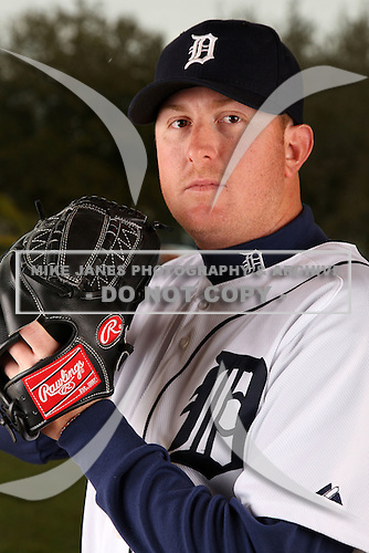 February 27, 2010:  Pitcher Zach Miner (31) of the Detroit Tigers poses for a photo during media day at Joker Marchant Stadium in Lakeland, FL.  Photo By Mike Janes/Four Seam Images