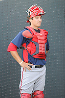 Catcher Cole Leonida (13) of the Potomac Nationals before a game against the Myrtle Beach Pelicans on Friday, August 9, 2013, at TicketReturn.com Field in Myrtle Beach, South Carolina. Myrtle Beach won, 3-2. (Tom Priddy/Four Seam Images)