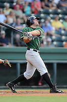 Right fielder Tyler Horan (39) of the Augusta GreenJackets bats in a game against the Greenville Drive on Friday, July 11, 2014, at Fluor Field at the West End in Greenville, South Carolina. Greenville won, 7-6. (Tom Priddy/Four Seam Images)