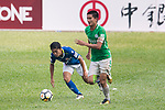 Wai Wong of Wofoo Tai Po (R) in action during the week three Premier League match between BC Rangers and Wofoo Tai Po at Sham Shui Po Sports Ground on September 17, 2017 in Hong Kong, China. Photo by Marcio Rodrigo Machado / Power Sport Images