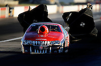 Sept. 4, 2010; Clermont, IN, USA; NHRA pro stock driver V. Gaines during qualifying for the U.S. Nationals at O'Reilly Raceway Park at Indianapolis. Mandatory Credit: Mark J. Rebilas-