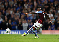 22nd September 2021; Stamford Bridge, Chelsea, London, England; EFL Cup football, Chelsea versus Aston Villa; Ashley Young of Aston Villa misses a penalty during the penalty shootout
