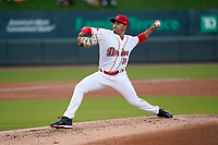 Pitcher Rio Gomez (36) of the Greenville Drive during a game against the Bowling Green Hot Rods on Wednesday, May 5, 2021, at Fluor Field at the West End in Greenville, South Carolina. (Tom Priddy/Four Seam Images)