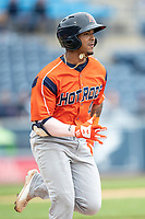 Bowling Green Hot Rods shortstop Wander Franco (4) runs to first base against the West Michigan Whitecaps on May 21, 2019 at Fifth Third Ballpark in Grand Rapids, Michigan. The Whitecaps defeated the Hot Rods 4-3.  (Andrew Woolley/Four Seam Images)