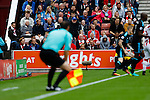 Stoke City 1 West Bromwich Albion 1, 24/09/2016. Bet365 Stadium, Premier League. Stoke City fans appeal to the Referee's Assistant. Photo by Paul Thompson.