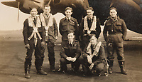 BNPS.co.uk (01202) 558833<br /> Pic: ZacharyCulpin/BNPS<br /> <br /> Pictured: Ken Symonds (kneeling down, first left) with his flight crew in 1945 <br /> <br /> An RAF veteran who flew the last Lancaster bomber home on the final sortie of the war has finally received his Bomber Command clasp 75 years later.<br /> <br /> Former Squadron Leader Ken Symonds, 97, limped his aircraft back to Britain following the last big raid of Bomber Command's Europe offensive.<br /> <br /> The sortie took place over Berchestgaden, the town in the Bavarian Alps where Adolf Hitler had his Eagles Nest retreat, on April 25, 1945 - five day's before the evil dictator's suicide.<br /> <br /> The Lancaster was struck by anti-aircraft fire which resulted in one of its four engines to be knocked out.