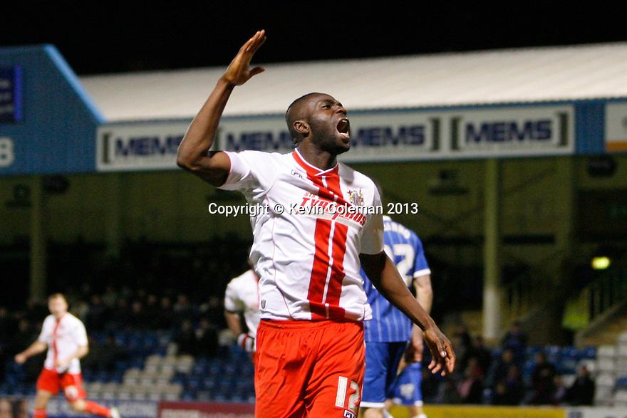 Francis Zoko of Stevenage equalizes and celebrates<br />  - Gillingham v Stevenage - Sky Bet League One - Priestfield, Gillingham - 26th November 2013. <br /> © Kevin Coleman 2013