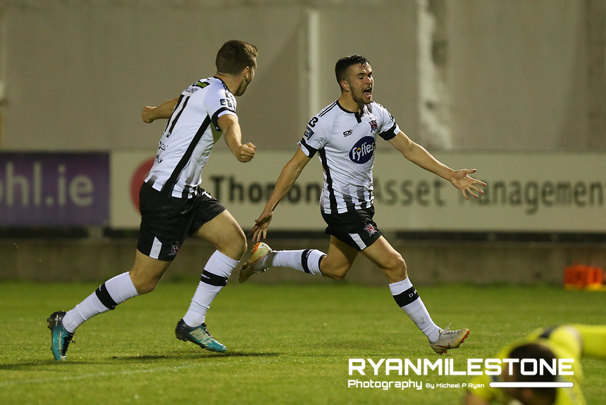 Michael Duffy celebrates after scoring a goal during the SSE Airtricity League Premier Division game between Limerick FC and Dundalk FC on Friday 31st August 2018 at Markets Field, Limerick. Photo By Michael P Ryan