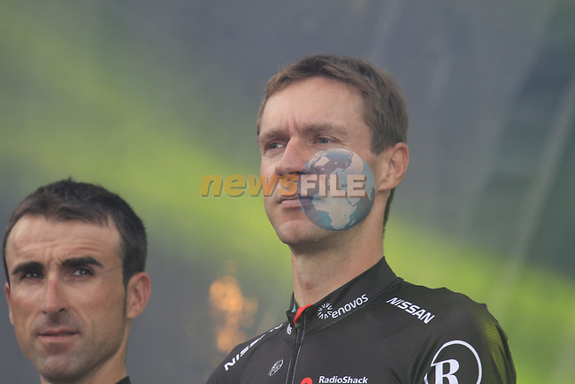 Radioshack-Nissan team rider Jens Voigt (GER) on stage at the Team Presentation Ceremony before the 2012 Tour de France in front of The Palais Provincial, Place Saint-Lambert, Liege, Belgium. 28th June 2012.<br /> (Photo by Eoin Clarke/NEWSFILE)