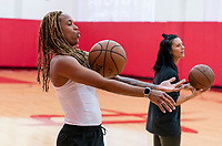 HOUSTON, TX - FEBRUARY 1: Jess McDonald #14 of the United States rolls the ball across her arms at Houston Rockets Training Center on February 1, 2020 in Houston, Texas.