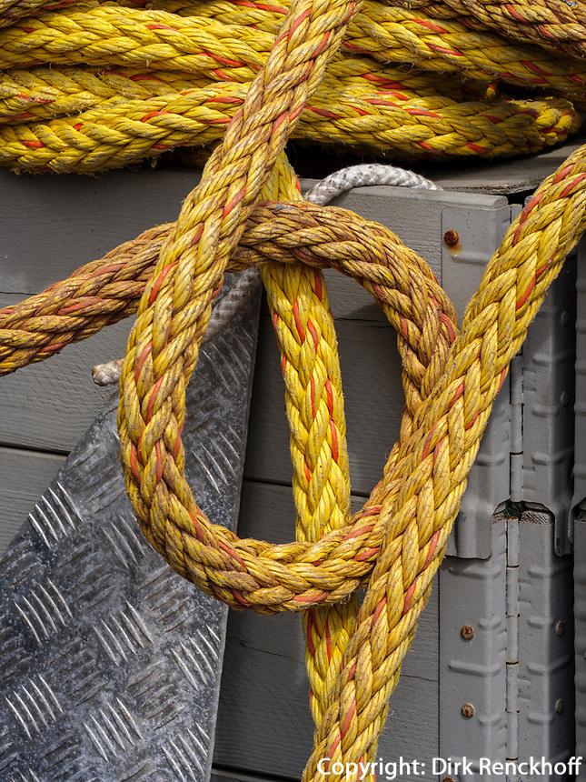 Anker und Taue im Südhafen, Unterland, Insel Helgoland, Schleswig-Holstein, Deutschland, Europa<br /> anchor and ropes,  south port, Helgoland island, district Pinneberg, Schleswig-Holstein, Germany, Europe