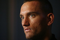 Aaron Cruden at the All Blacks media conference ahead of the test match against England, Southern Cross Hotel, Dunedin, New Zealand, Thursday, June 12, 2014. Credit: NINZ/Dianne Manson