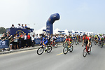 The start of Stage 4 The Municipality Stage of the Dubai Tour 2018 the Dubai Tour's 5th edition, running 172km from Skydive Dubai to Hatta Dam, Dubai, United Arab Emirates. 9th February 2018.<br /> Picture: LaPresse/Fabio Ferrari | Cyclefile<br /> <br /> <br /> All photos usage must carry mandatory copyright credit (© Cyclefile | LaPresse/Fabio Ferrari)