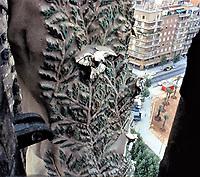 Detail on exterior of Gaudi building--metal sculpture. Art Nouveau.