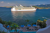 Cruise ship entering harbor at Charlotte Amalle as seen from Marriot hotel. St. Thomas. US Virgin Islands.