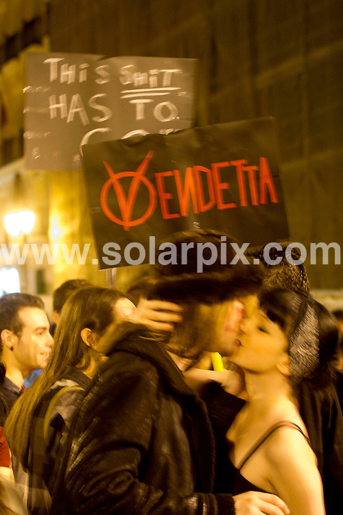 **ALL ROUND PICTURES FROM SOLARPIX.COM**                                             **WORLDWIDE SYNDICATION RIGHTS EXCEPT SPAIN - NO SYNDICATION IN SPAIN**                                                                                  15M movement. Demonstrators occupy the Puerta del Sol square in Madrid during a protest against Spain's economic crisis and its sky-high jobless rate. Calling for 'Real 20 05 11_Puerta del Sol. Madrid. Democracy Now,' the protests popularly known as M-15 began on May 15, lamenting Spain's economic crisis, politicians in general, and corruption. Protest camps have also sprung up in several other cities, in the largest spontaneous outcry since the country plunged into recession after the collapse of a property bubble in 2008.                                                                           .This pic:    Demonstrators in Madrid                                                                                      JOB REF:    13393    DMS       DATE:    21.05.11                                                        **MUST CREDIT SOLARPIX.COM OR DOUBLE FEE WILL BE CHARGED**                                                                      **MUST AGREE FEE BEFORE ONLINE USAGE**                               **CALL US ON: +34 952 811 768 or LOW RATE FROM UK 0844 617 7637**