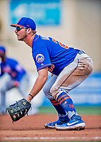28 February 2019: New York Mets  top prospect infielder Pete Alonso in action at first base during a Spring Training game against the St. Louis Cardinals at Roger Dean Stadium in Jupiter, Florida. The Mets defeated the Cardinals 3-2 in Grapefruit League play. Mandatory Credit: Ed Wolfstein Photo *** RAW (NEF) Image File Available ***