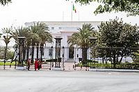 Dakar, Senegal.  Presidential Guards in front of the Presidential Palace.  Changing of the Guard.