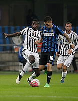 Calcio, Serie A: Inter vs Juventus. Milano, stadio San Siro, 18 ottobre 2015. <br /> FC Inter's Stevan Jovetic, center, is challenged by Juventus' Paul Pogba during the Italian Serie A football match between FC Inter and Juventus, at Milan's San Siro stadium, 18 October 2015.<br /> UPDATE IMAGES PRESS/Isabella Bonotto