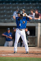 Missoula Osprey center fielder Alek Thomas (19) at bat during a Pioneer League game against the Grand Junction Rockies at Ogren Park Allegiance Field on August 21, 2018 in Missoula, Montana. The Missoula Osprey defeated the Grand Junction Rockies by a score of 2-1. (Zachary Lucy/Four Seam Images)