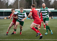 Max Argyle of Jersey Reds and George Davis of Ealing Trailfinders during the Championship Cup Quarter final match between Ealing Trailfinders and Jersey Reds at Castle Bar , West Ealing , England  on 22 February 2020. Photo by Alan  Stanford / PRiME Media Images.