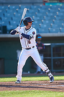 Lancaster JetHawks third baseman Matt McLaughlin (6) during a California League game against the Lake Elsinore Storm on April 10, 2019 at The Hangar in Lancaster, California. Lake Elsinore defeated Lancaster 10-0 in the first game of a doubleheader. (Zachary Lucy/Four Seam Images)