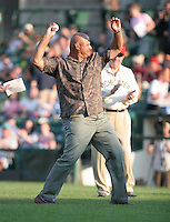 Former major league infielder Chris Chambliss throws out the first pitch at a 2007 Rochester Red Wings game vs. Yankees affiliate the Scranton Wilkes-Bare Yankees.  Class-AAA affiliate of the Minnesota Twins of the International League.  Photo By Mike Janes/Four Seam Images