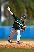 Farmingdale Rams starting pitcher Kevin Martinez (11) delivers a pitch during a game against the Union Dutchmen on February 21, 2016 at Chain of Lakes Stadium in Winter Haven, Florida.  Farmingdale defeated Union 17-5.  (Mike Janes/Four Seam Images)