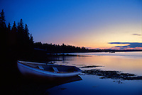 Tranquil rowboat at dusk, Maine<br />