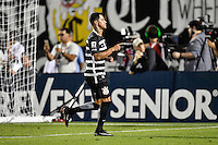 Orlando, FL - Saturday Jan. 21, 2017: Corinthians midfielder Giovanni Cardoso (17) celebrates his successful penalty shot during the penalty kick shootout of the Florida Cup Championship match between São Paulo and Corinthians at Bright House Networks Stadium. The game ended 0-0 in regulation with São Paulo defeating Corinthians 4-3 on penalty kicks.
