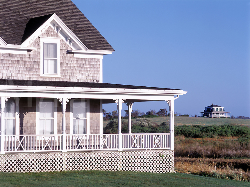 Two traditional New England summer houses on Block Island. Rhode Island.