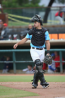 Ryan Scott (15) of the  Inland Empire 66ers during a game against the Stockton Ports at San Manuel Stadium on May 26, 2019 in San Bernardino, California. (Larry Goren/Four Seam Images)