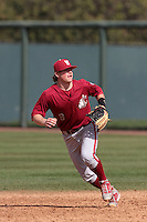 Tommy Richards #9 of the Washington State Cougars in the field during a game against the UCLA Bruins at Jackie Robinson Stadium on March 24, 2012 in Los Angeles,California. UCLA defeated Washington 12-3.(Larry Goren/Four Seam Images)
