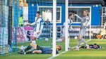 Luka Sliskovic (weiss, am Ball) legt den Ball ins Zentrum, der Ball landet in die Füße von Marcel Seegert (blauschwarz, 5) der den Ball ins Tor stolpert. Eigentor: 2-2 beim Spiel in der 3. Liga, SV Waldhof Mannheim - 1. FC Magdeburg.<br /> <br /> Foto © PIX-Sportfotos *** Foto ist honorarpflichtig! *** Auf Anfrage in hoeherer Qualitaet/Aufloesung. Belegexemplar erbeten. Veroeffentlichung ausschliesslich fuer journalistisch-publizistische Zwecke. For editorial use only. DFL regulations prohibit any use of photographs as image sequences and/or quasi-video.