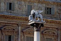 - Verona, the lion of S.Marco in delle Erbe square ....- Verona, il leone di S.Marco in piazza delle Erbe