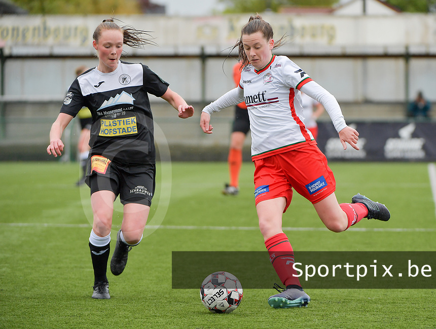 Loes Van Mullem (33) of Eendracht Aalst  and Summer Rogiers (8) of Zulte-Waregem in action during a female soccer game between SV Zulte - Waregem and Eendracht Aalst on the 9 th matchday in play off 2 of the 2020 - 2021 season of Belgian Scooore Womens Super League , saturday 22 nd of May 2021  in Zulte , Belgium . PHOTO SPORTPIX.BE | SPP | DIRK VUYLSTEKE